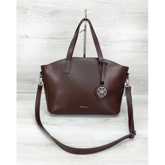 Стильная сумочка шоколадного цвета из экокожи