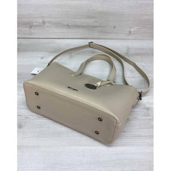 Бежевая сумочка из экокожи