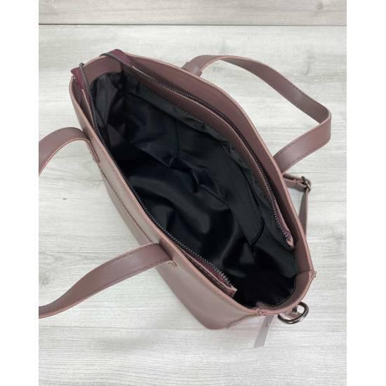Стильная сумочка лилового цвета из кожзама