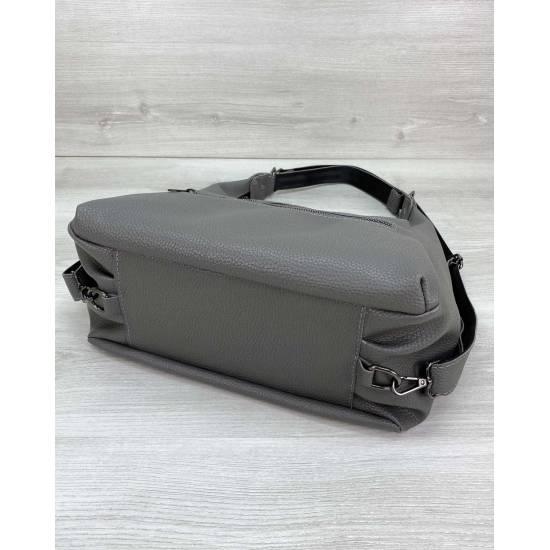 Стильный рюкзак-сумка серого цвета из экокожи