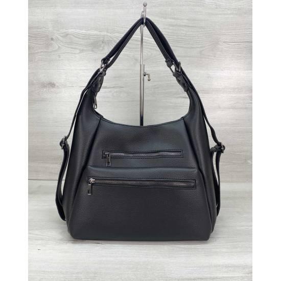 Сумка-рюкзак черного цвета из экокожи