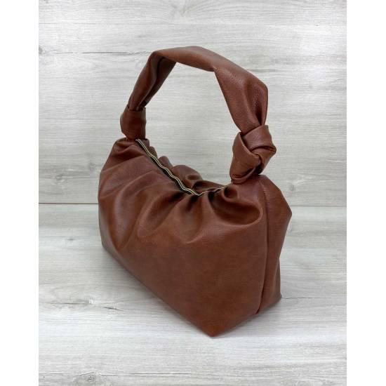 Стильная сумка из экокожи рыжевого цвета