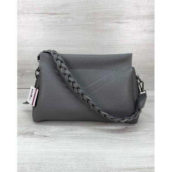 Стильная сумочка серого цвета из кожзама