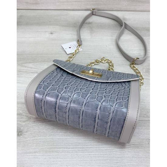 Модная женская сумочка серо-голубого цвета
