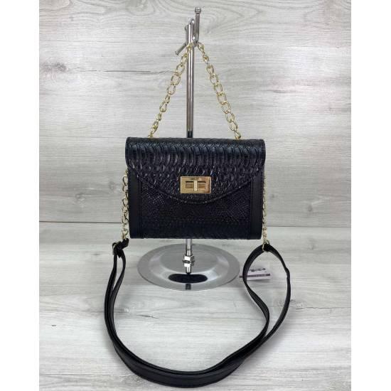 Модная сумка черного цвета из кожзама