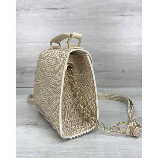 Модная женская сумочка бежевого цвета