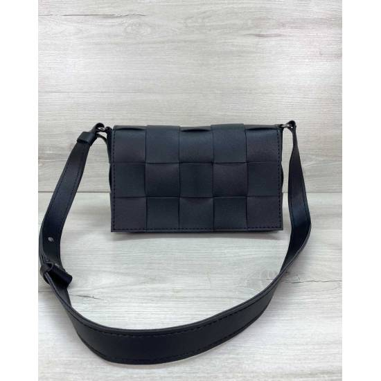 Плетеная сумочка черного цвета