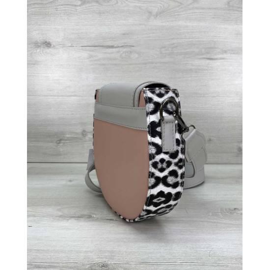 Модная сумочка серо-розового цвета