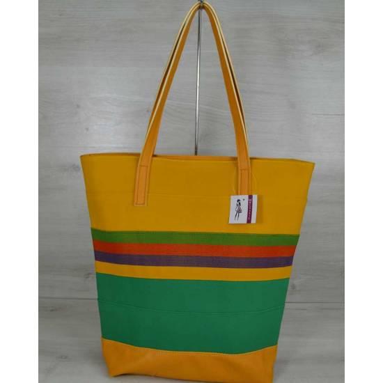 Комбинированная сумка желтого цвета