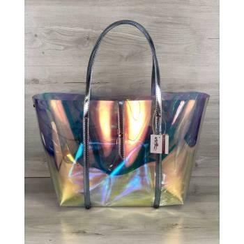 Пляжная силиконовая сумка  перламутрового цвета 2 в 1