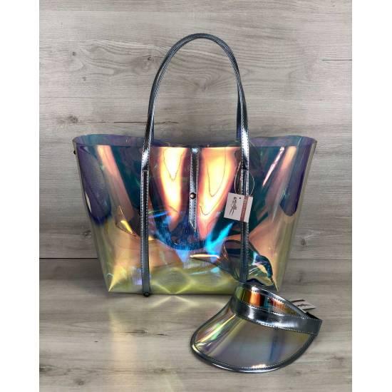 Пляжная силиконовая сумка и кепка с голубым оттенком 3 в 1