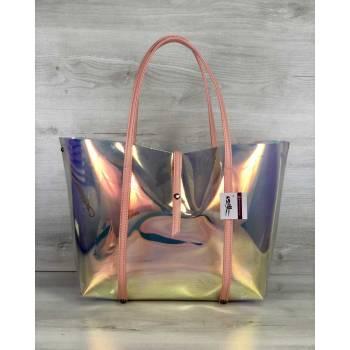 Пляжная силиконовая сумка перламутро-пудрового цвета 2 в 1
