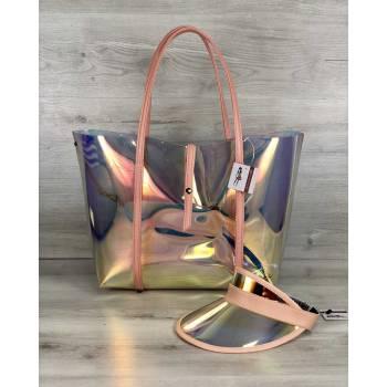 Пляжная силиконовая сумка и кепка пудрового цвета 3 в 1
