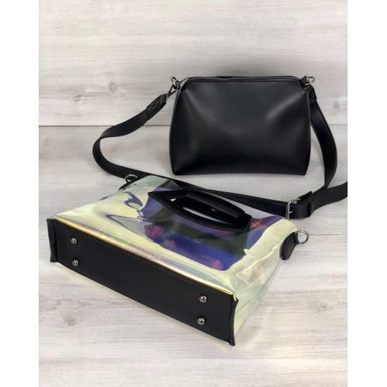 Летняя женская сумка перламутрового цвета с черной косметичкой