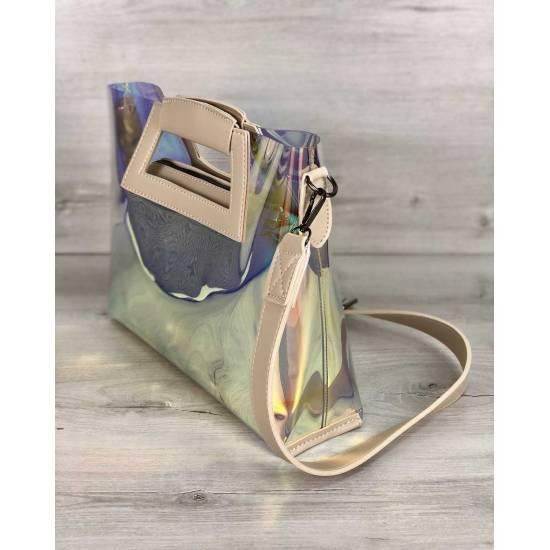 Женская летняя сумка перламутрового цвета 2 в 1
