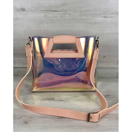 Женская летняя сумка перламутро-пудрового цвета 2 в 1