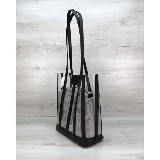 Силиконовая сумка с косметичкой серого цвета