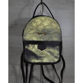 Черный рюкзак с вставкой золотого цвета