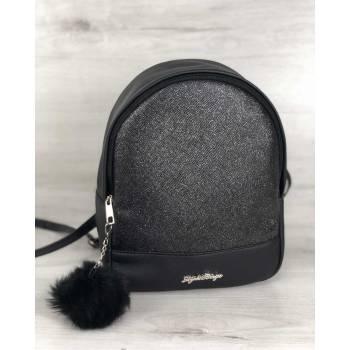 Черный рюкзак из экокожи с пушком