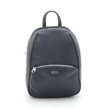 Черный рюкзак из кожзама с внешними карманами