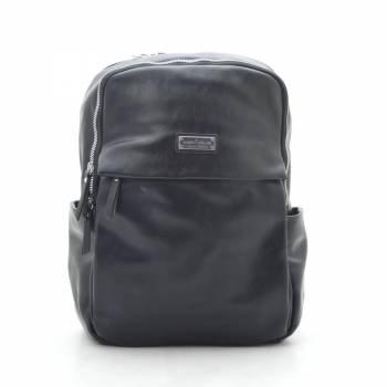 Черный рюкзак из кожзама с двумя отделениями