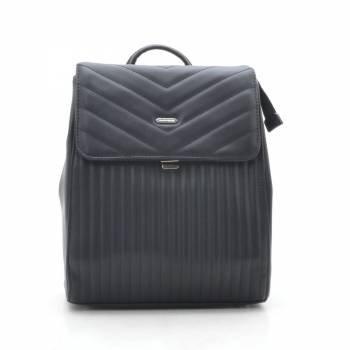 Стильный черный рюкзак из кожзама с одним отделением