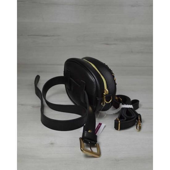 Черная стильная сумка на пояс