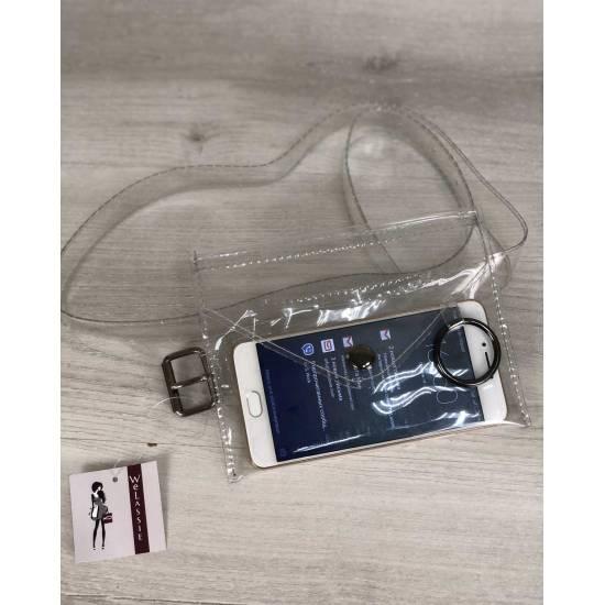 Стильная силиконовая сумка на пояс (прозрачная)