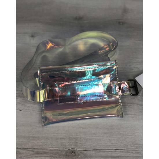 Стильная женская сумка перламутрового цвета на пояс (полупрозрачная)