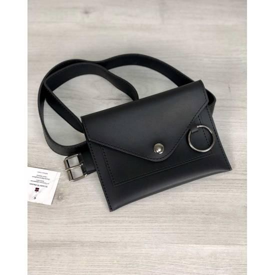 Стильная женская сумка черного цвета на пояс