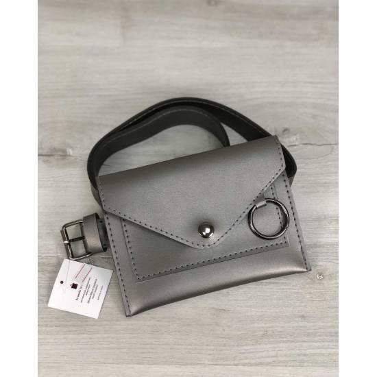 Стильная женская сумка цвета металлик на пояс