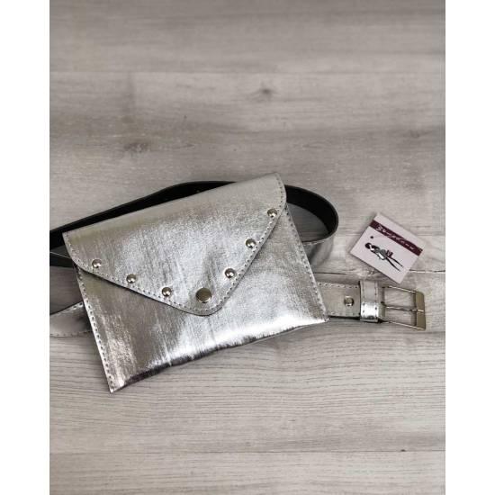 Сумка на пояс серебряного цвета