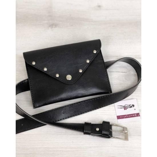 Женская сумка черного цвета на пояс
