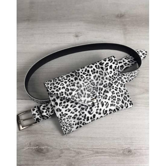 Женская сумка черно-белого цвета на пояс