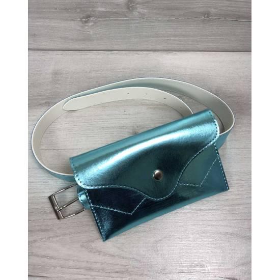 Женская сумка перламутро-мятного цвета на пояс