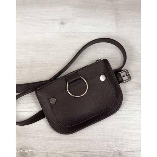 Женская сумка коричневого цвета на пояс