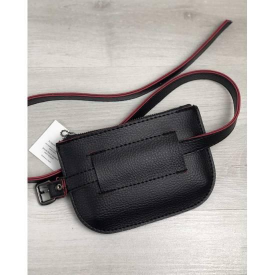 Женская сумка черного цвета на пояс с красным ремешком