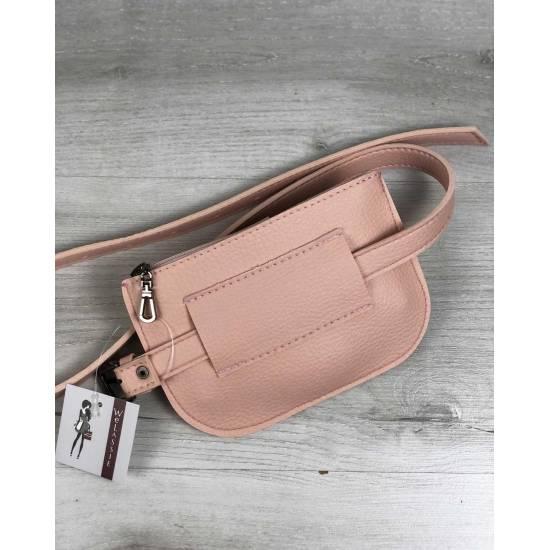 Женская сумка пудрового цвета на пояс