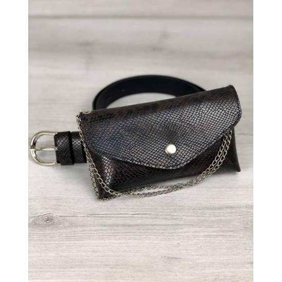 Женская сумка коричнево-черного цвета на пояс