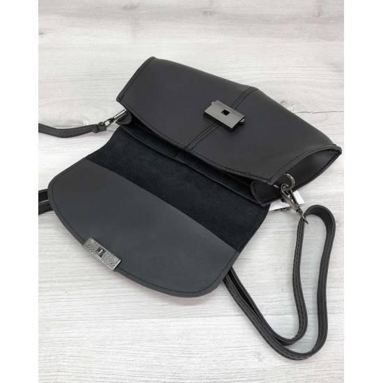 Черная сумка-клатч на пояс