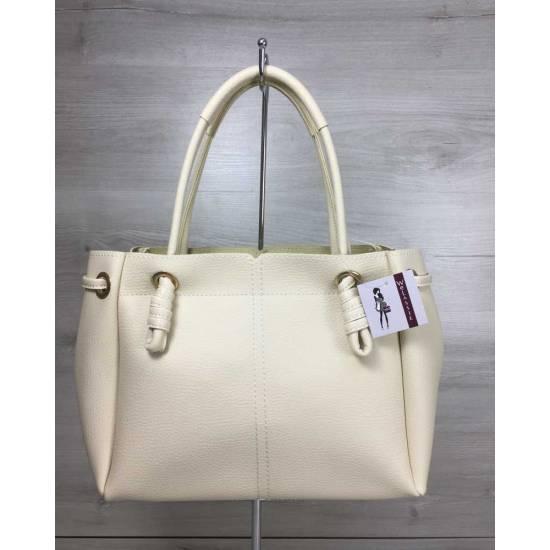 Стильная сумка-шоппер бежевого цвета
