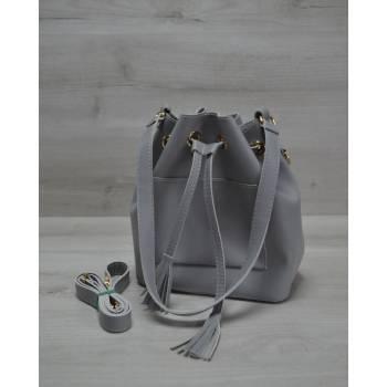 Стильная сумка серого цвета с клатчем