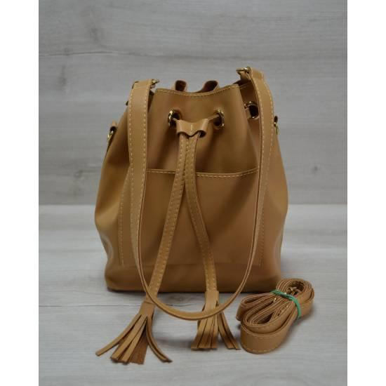 Стильная сумка светло-рыжевого цвета с клатчем