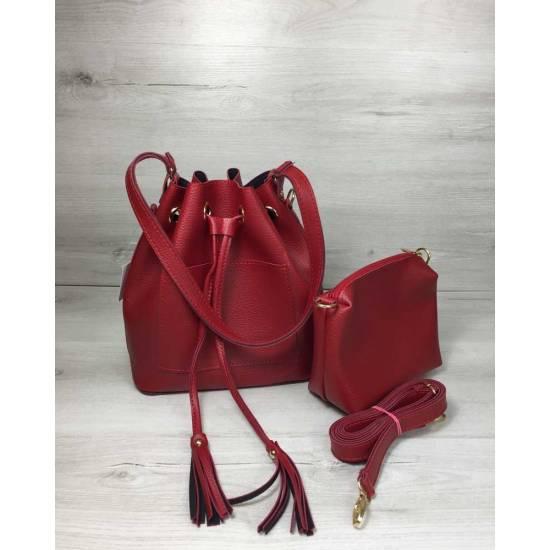 Красная сумочка с клатчем