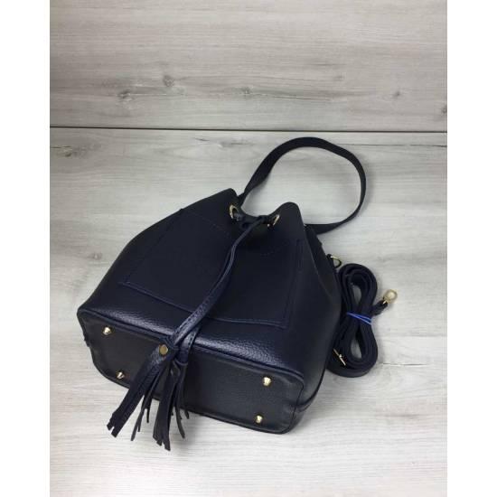 Стильная сумочка синего цвета с клатчем