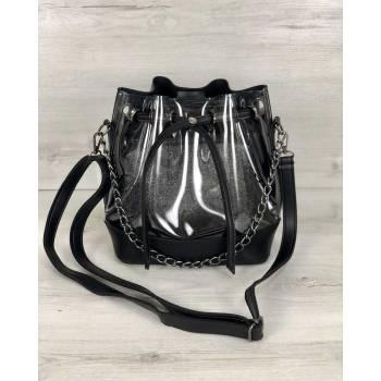 Стильная сумочка черного цвета с силиконом