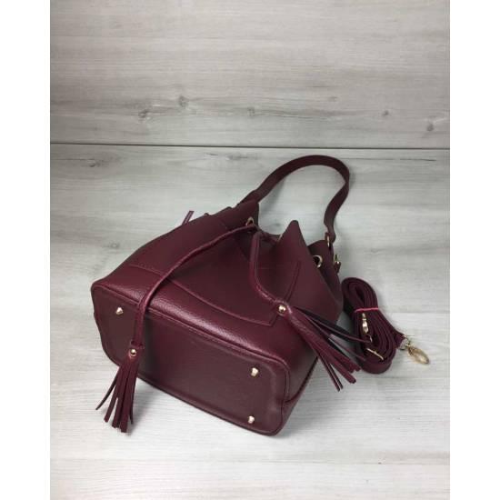 Стильная сумочка бордового цвета с клатчем