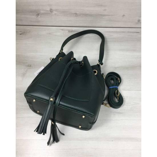 Зеленая сумочка с клатчем