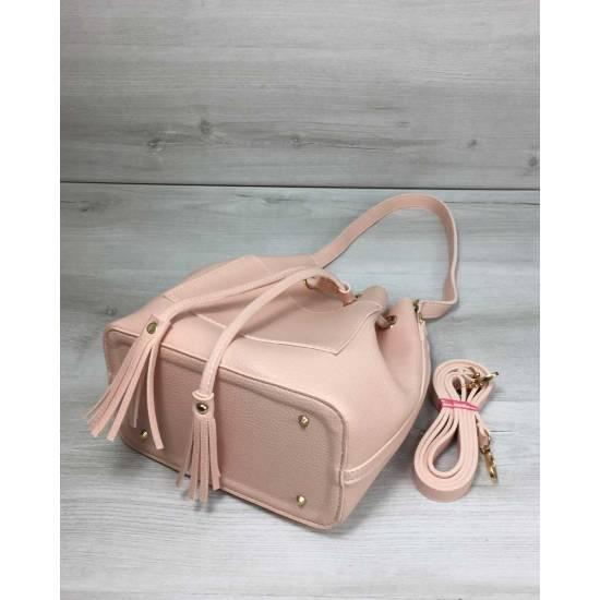 Стильная розовая сумочка с клатчем