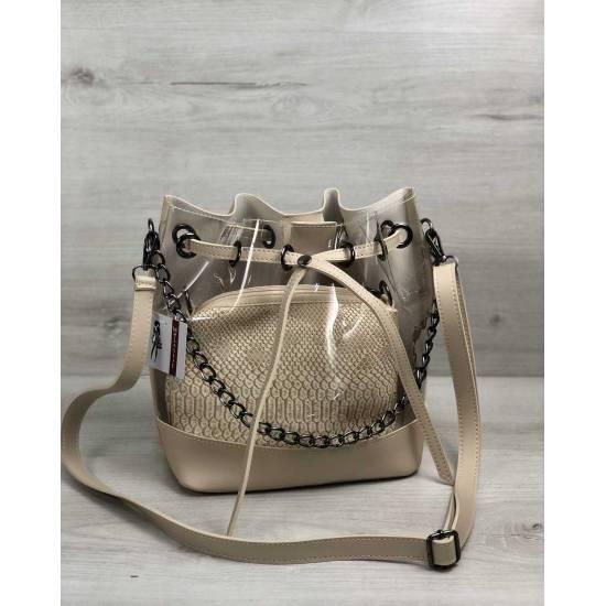 Модная сумочка бежевого цвета с силиконом